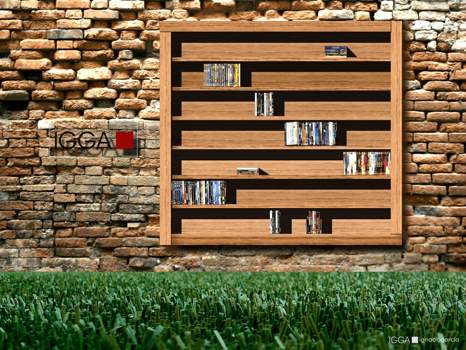 Librería mural de madera